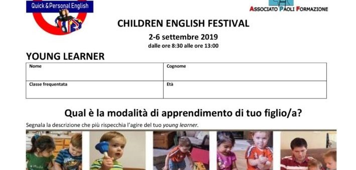 CHILDREN ENGLISH FESTIVAL 2-6 settembre 2019