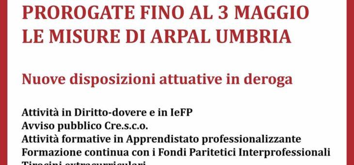 Prorogate fino al 3 maggio le misure di ARPAL e nuove disposizioni in deroga